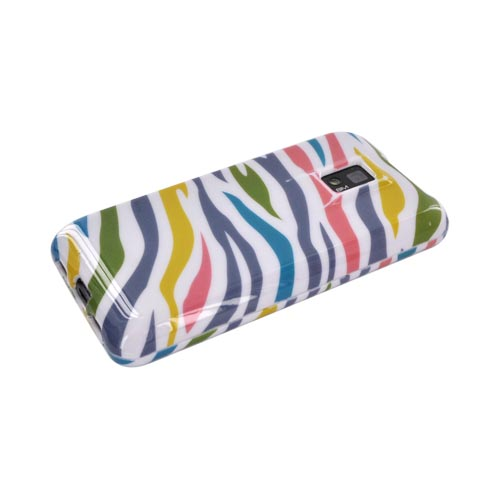 T-Mobile G2X Hard Case - Rainbow Zebra on White