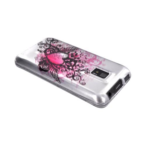 T-Mobile G2X Hard Case - Pink Heart w/ Wings on Silver