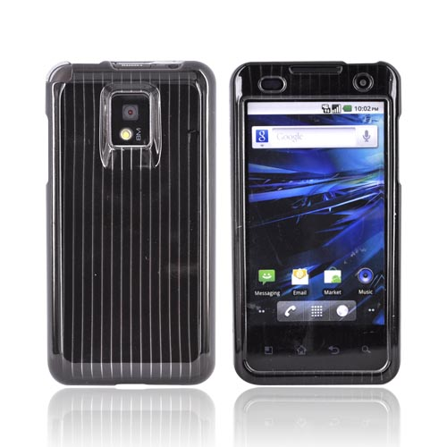 T-Mobile G2X Hard Case - Silver Lines on Black