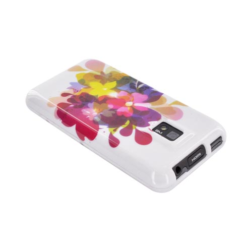 T-Mobile G2X Hard Case - Colorful Water Flowers on White