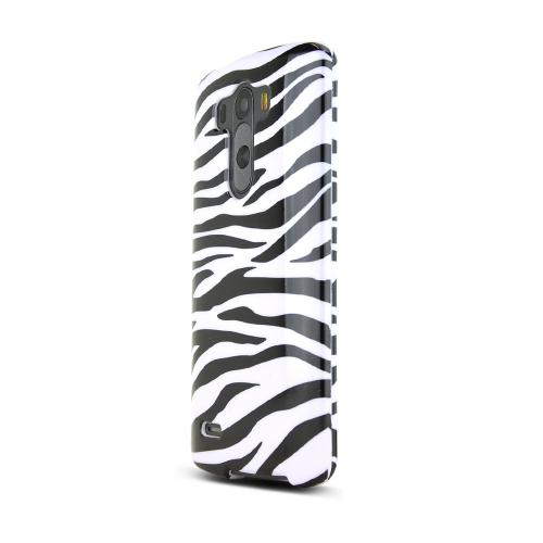 LG G3 Case,  [White Zebra]  Slim & Protective Crystal Glossy Snap-on Hard Polycarbonate Plastic Case Cover