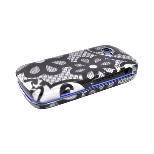 LG Neon II GW370 Hard Case - Black Flower Lace on Silver