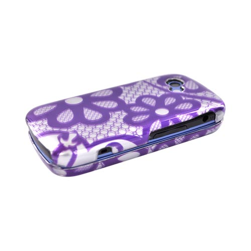 LG Neon II GW370 Hard Case - Purple Flower Lace on Silver
