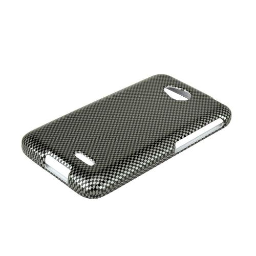 Black/ Gray Carbon Fiber LG Optimus Exceed 2/ LG L70 Hard Case Cover, Great Basic Protection!