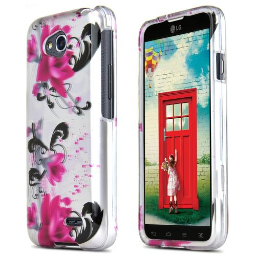 Magenta Flowers on White LG Optimus Exceed 2/ LG L70 Hard Case Cover, Great Basic Protection!