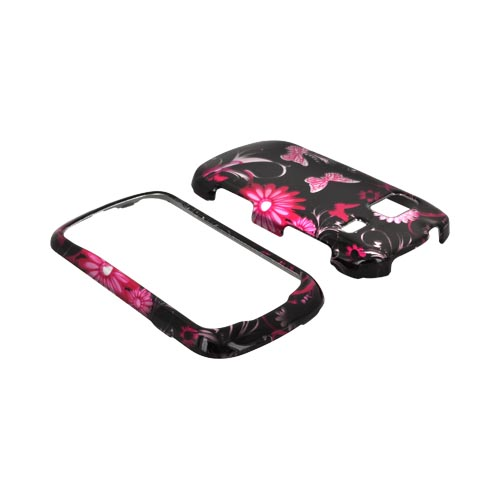 LG Rumor Reflex Hard Case - Pink Flowers and Butterflies on Black