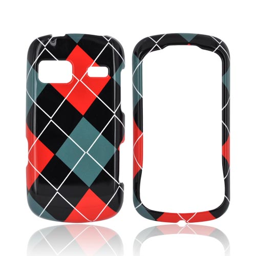 LG Rumor Reflex Hard Case - Red/ Black/ Gray Argyle