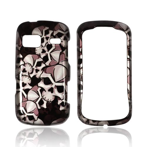 LG Rumor Reflex Hard Case - Silver Skulls on Black