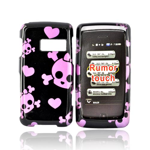 LG Rumor Touch LN510 Hard Case - Pink Skulls and Hearts on Black