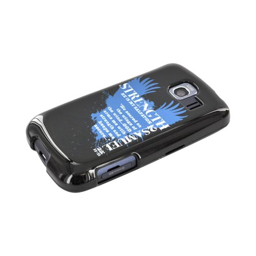 LG Optimus S LS670 Passion Series Hard Case - Blue Strength 2 Samuel 22:11-33 on Black