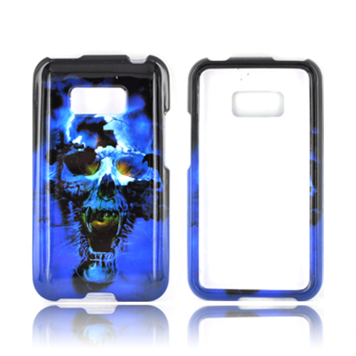 LG Optimus Elite Hard Case - Blue Skull
