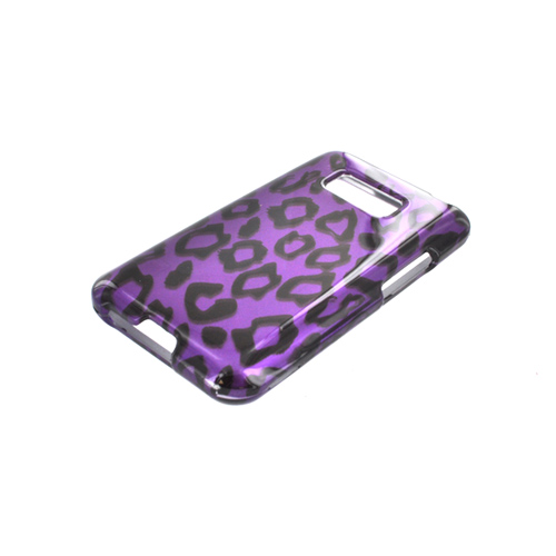 LG Optimus Elite Hard Case - Purple/ Black Leopard