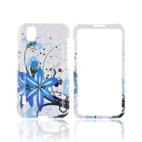 LG Marquee LS855 Hard Case - Blue Flower Splash on White