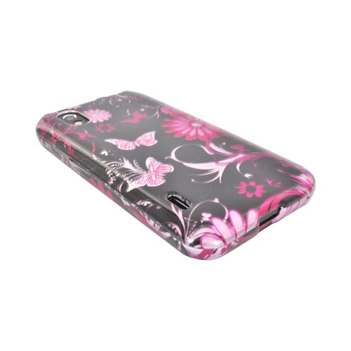 LG Marquee LS855 Hard Case Cover - Pink Flowers and Butterflies on Black