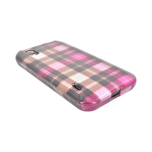 LG Marquee LS855 Hard Case - Plaid Pattern of Pink/ Hot Pink/ Brown/ Gray