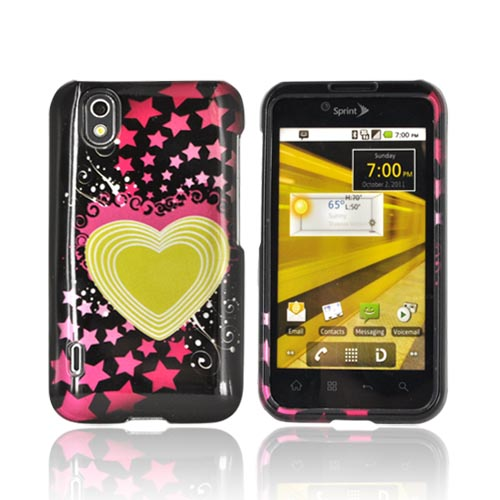 LG Marquee LS855 Hard Case - Yellow Heart and Hot Pink Stars on Black