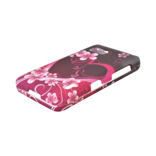 LG Mach Hard Case - Hot Pink/ Purple Flowers & Heart