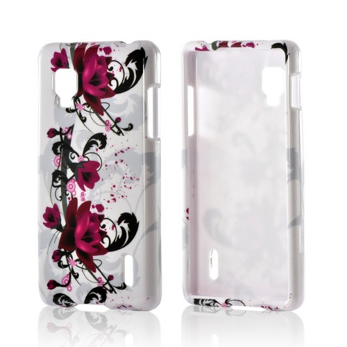 Magenta Flowers & Black Vines on White Hard Case for LG Optimus G (Sprint)