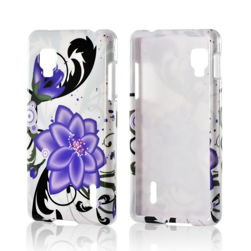 Purple Lily on White Hard Case for LG Optimus G (Sprint)