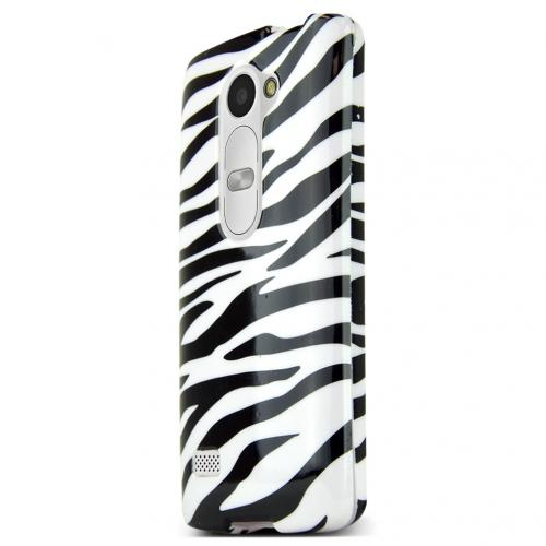 LG Leon (T-Mobile, MetroPCS) Case, White Zebra Slim Grip Rubberized Matte Snap-on Hard Polycarbonate Plastic Protective Cover