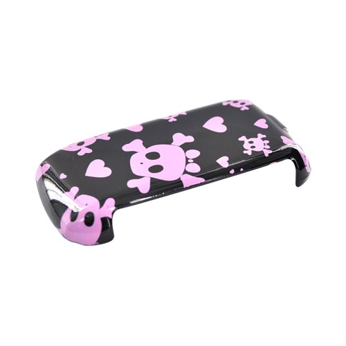 LG MN180 Hard Case - Pink Skulls on Black