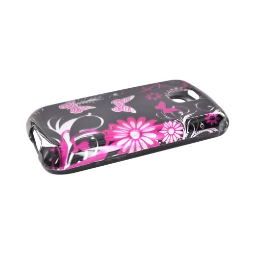 LG Optimus M MS690 Hard Case - Pink Floral Design on Black