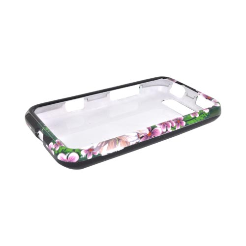LG Viper 4G LTE/ LG Connect 4G Hard Case - White/ Green Flower on Black