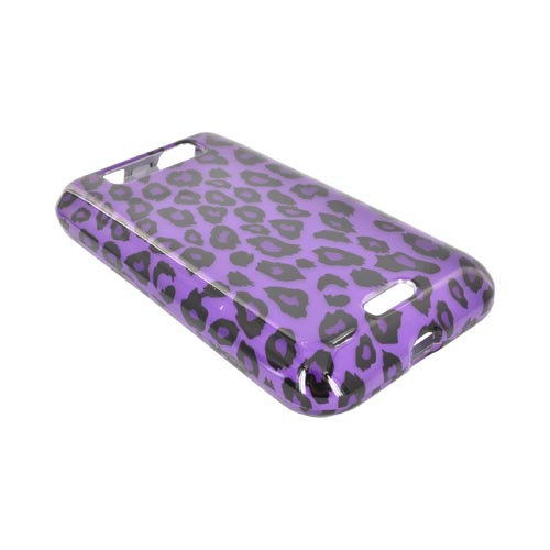 LG Viper 4G LTE/ LG Connect 4G Hard Case Cover - Purple/ Black Leopard