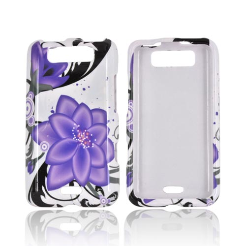 LG Viper 4G LTE/ LG Connect 4G Hard Case - Purple Lily on White