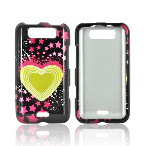 LG Viper 4G LTE/ LG Connect 4G Hard Case - Yellow Heart and Hot Pink Stars on Black