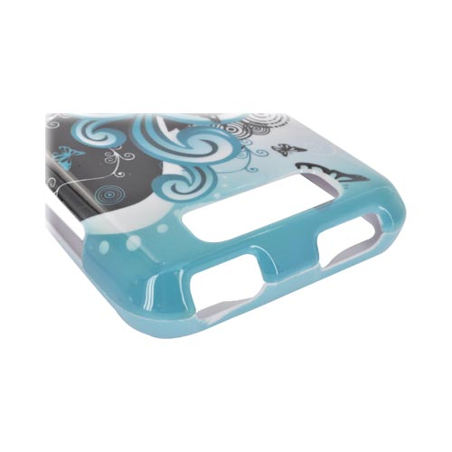 LG Viper 4G LTE/ LG Connect 4G Hard Case - Yellow Lily & Swirls on Turquoise/ Black