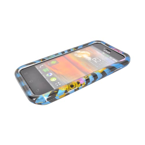 T-Mobile MyTouch Hard Case - Floral Burst on Blue/ Black