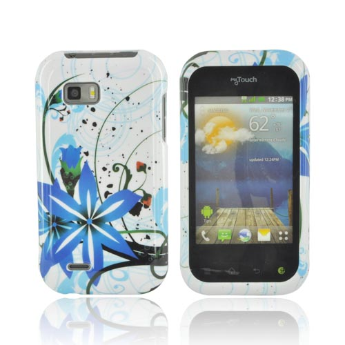 T-Mobile MyTouch Q Hard Case - Blue Flower Splash on White