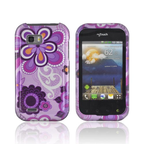 T-Mobile MyTouch Q Hard Case - Purple Retro Flowers on Violet