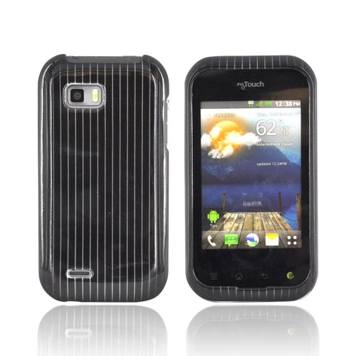 T-Mobile MyTouch Q Hard Case - Silver Lines on Black