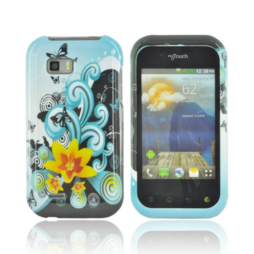 T-Mobile MyTouch Q Hard Case - Yellow Lily & Swirls on Turquoise/ Black