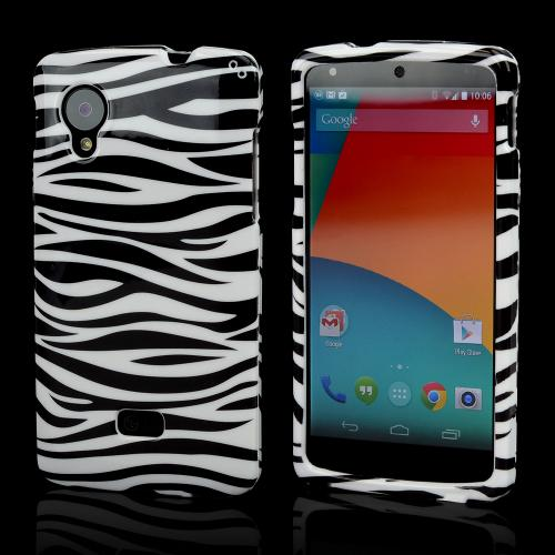 Black Zebra on White Hard Case for LG Google Nexus 5