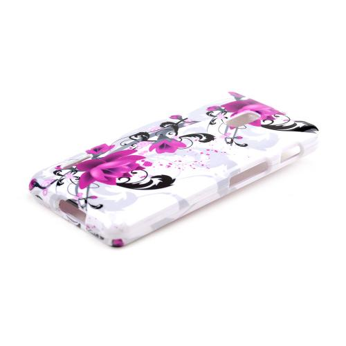 Magenta Flowers w/ Black Vines on White Hard Case for LG Optimus F7