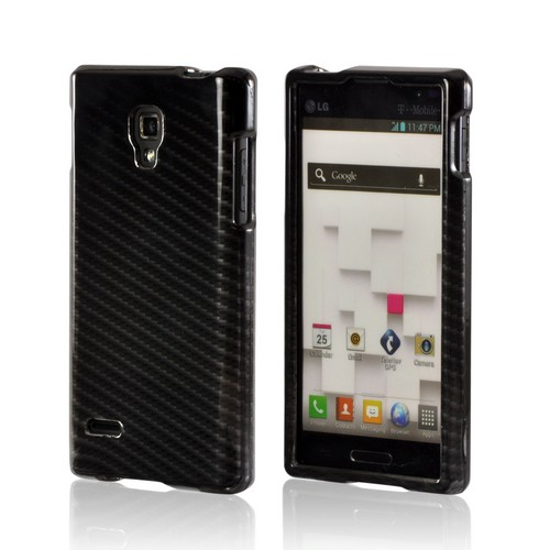 Black/ Gray Carbon Fiber Design Hard Case for LG Optimus L9