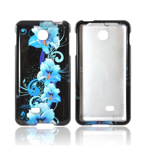 LG Escape Hard Case - Blue Flower on Black