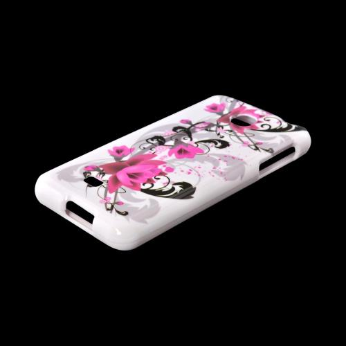 LG Escape Hard Case - Magenta Flowers & Black Vines on White