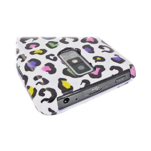LG Spectrum Hard Case - Rainbow Leopard on White