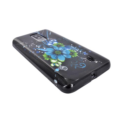 LG Spectrum Hard Case - Turquoise/ Green Flowers on Black