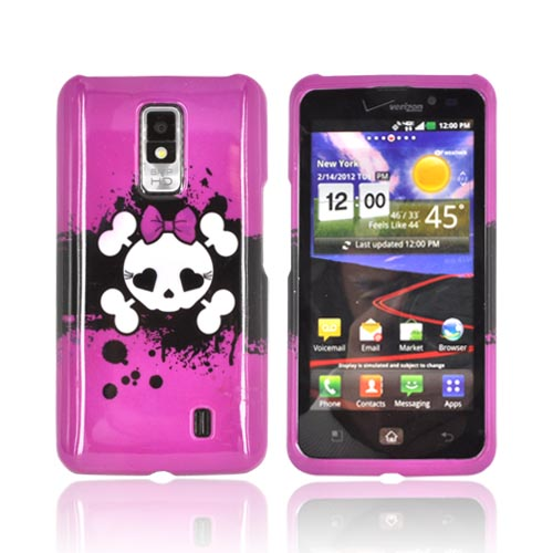 LG Spectrum Hard Case - White Skull w/ Bow on Hot Pink