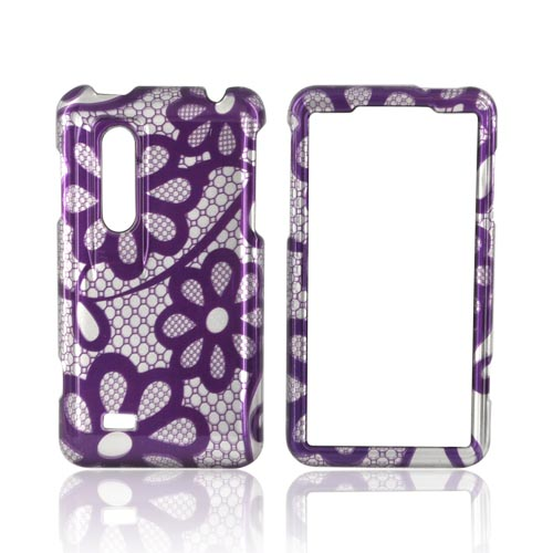 LG Thrill 4G Hard Case - Purple Lace Flowers on Silver