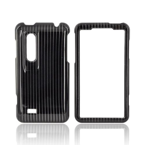 LG Thrill 4G Hard Case - Silver Lines on Black