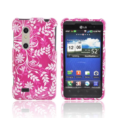 LG Thrill 4G Hard Case - White Vines & Flowers on Magenta