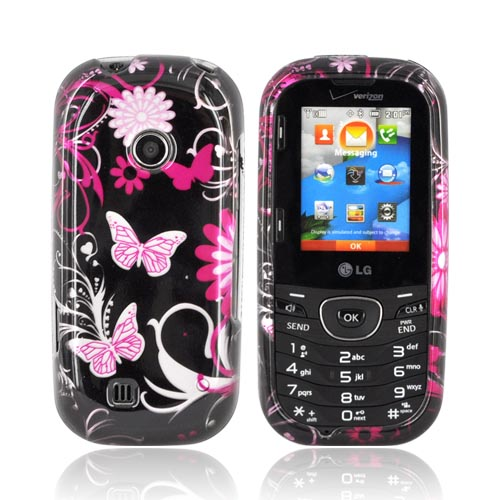 LG Cosmos 2 UN251 Hard Case - Pink Butterflies & Flowers on Black