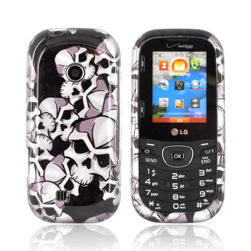 LG Cosmos 2 UN251 Hard Case - Silver Skulls on Black
