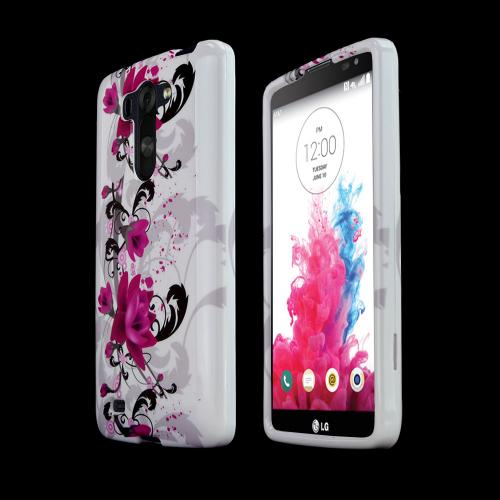 Magenta Flowers on White LG G Vista Hard Case Cover; Perfect fit as Best Coolest Design Plastic cases
